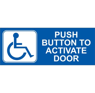 CE-716 Push Button to Activate Door Decal for Automatic Door